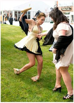 There she goes! Platforms on a grassy slope at Aintree
