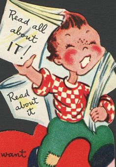 "Vintage Childs Valentine's Day Card Newspaper Boy ""Read All About It """