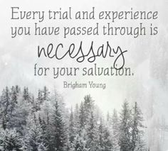 Brigham young every trial and experience you have passed through is necessary for your salvation