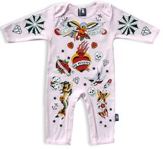 Six Bunnies Pink Old School Baby Romper Rockabilly Baby, Rockabilly Shop, Bodies, Pink Playsuit, Romper, Punk Baby, Bunny Suit, Baby Momma, Shops