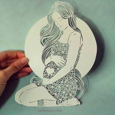 Papercut. Pregnant woman