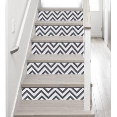Adhésifs pour contremarches d'escalier - stickers contremarche - décoration escalier chevrons gris foncés - rénovation escaliers