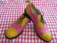 COMME DES GARCONS pink and yellow brogues / oxford shoes