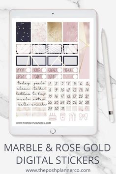 A truly elegant set of digital planner stickers for your iPad planner in GoodnNotes, Notability, or any other digital planning app. #digitalplannerstickers #plannerstickers #digitalstickers #printablestickers #goodnotes #notability #ipadplanner #digitaljournal #digibujo #theposhplannerco