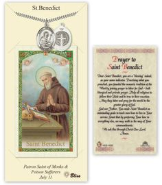 Bliss Catholic Patron Saint Prayer Card & Pendant Sets St Benedict Pendant and Holy Prayer Card Gift Set Hand-Crafted Medal Necklace with Chain Medal Measures: 1 x Chain: 24 inch Stainless Heavy C Prayer Cards, My Prayer, St Benedict Prayer, Heart Wedding Cakes, Van Cleef And Arpels Jewelry, Catholic Medals, Prayers For Healing, Catholic Prayers, Patron Saints