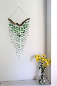 Sea Glass & Driftwood Mobile  OMBRE  Green par TheRubbishRevival