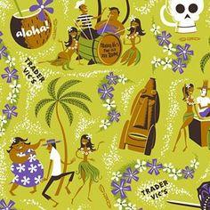 Josh Agle @theartistshag Tiki Hawaii, Hawaiian Tiki, Tiki Hut, Tiki Tiki, Midcentury Fabric, Tiki Decor, Tiki Mask, Vintage Tiki, Hawaiian Tattoo
