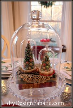 Love the tatted doily in the cloche!    diy Design Fanatic: Christmas In The Breakfast Room 2014