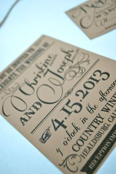 Kraft Wedding Invitation by OuttheBoxCreative on Etsy, $2.75
