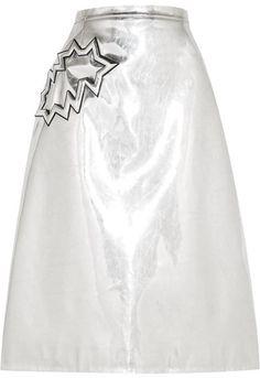 Christopher Kane - Metallic Pvc Midi Skirt - Silver