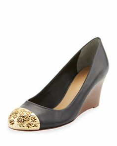 a12fe05f4ec5 Cami Wedge with Logo Cap-Toe by Tory Burch at Neiman Marcus. Contemporary  Fashion