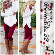 Wine Fleece Lined Leggings  Who says you can't be fabulous this winter! Fleece lined leggings are a staple piece this winter! Don't miss out! Comes in  burgundy, cocoa, black, navy, wine, midnight blue, charcoal gray,teal,mauve, light mocha, and sand! Bundle for even bigger savings! ⭐️Price is Firm ⭐️No offers acceptedDon't buy this listing. I'll make a new one for you Pants Leggings