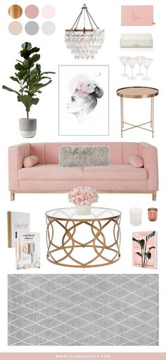 Blush, Copper and Grey Home Decor | Interior inspiration for a living room space | interior design + decor | www.flipandstyle.com
