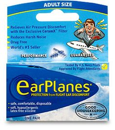 Inflight Comfort | EarPlanes | Relieves ear discomfort, clogging and popping, regulates air pressure naturally | Approved by flight attendants, Recommended by doctors