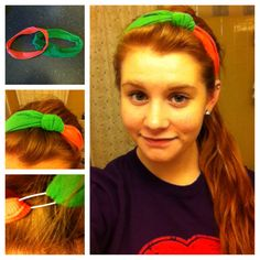 1. Take two of your favorite headbands of any color, size, whatever! 2. Cross them and make a bow like how you would sometimes with little hair twisties for fun. 3. Grab a safety pin and use it to hold the two loose ends of the head bands together to made one new head band. 4. I wore it like you would a regular head band, but I'm sure there's other ways you could wear it too! :)