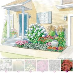 A compact spot between the driveway and front door packs a punch with help from these easy-care, long-blooming plants.