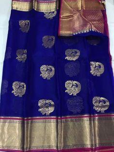 Pure Kanchi Organza Silk Sarees With Peacock, Elephant, Horse, Musical Insturments, and Jumka Zari Motifs Fabric: Pure Organza Silk Shipping: Free In India
