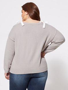 Plus Size Colette Tie-Shoulder Sweater - Fashion To Figure Plus Size Blouses, Plus Size Tops, Fashion To Figure, Sweater Fashion, Bodysuit, Pullover, Tie, Hoodies, Shoulder
