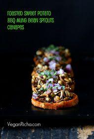 Vegan Richa: Sweet Potato Canapes with Barbecue Mung Bean Sprouts. Vegan Glutenfree Grainfree Recipe for Virtual Vegan Potluck. BBQ sauce Recipe too.