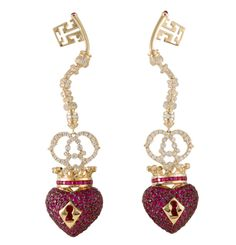 Earrings from Lydia Courteilles' Homage to Surrealism collection (POA); they incorporate crowned love hearts with keyholes and corresponding keys.