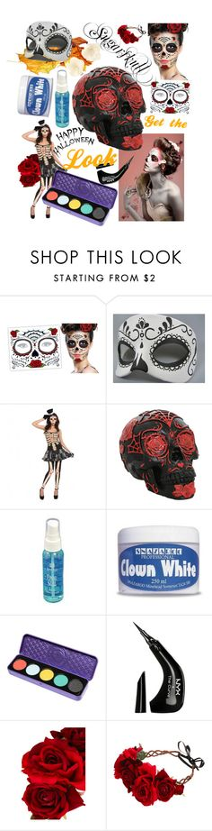 Sugarskull - get the look for Halloween by stylebycharlene on Polyvore featuring Rock 'N Rose, Accessorize, Lime Crime, NYX, Halloween, Beauty, makeup and sugarskull