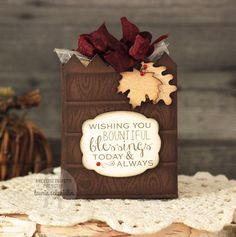 Project by Laurie Schmidlin. Reverse Confetti stamp sets: Forever Fall and Give Thanks. Confetti Cuts: Give Thanks Label and Treat Tote. Blessing. Thanksgiving. Hostess gift. Friendship gift.