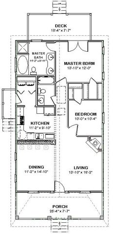 Details about Custom Small House Home Building Plans 2 bed sf- PDF file - Free Things The Plan, How To Plan, Arched Cabin, Br House, Small House Floor Plans, Small Kitchen Floor Plans, One Bedroom House Plans, 30x40 House Plans, 2 Bedroom Floor Plans