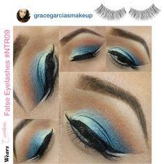 Beautiful ocean blue #eyemakeup by Instagrammer @gracegarciasmakeup completing her look with our #falseeyelashes style #NTR09