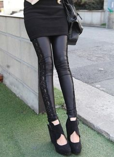 0e590c7bdecf Leather Look Lace Women Leggings  19 High quality knitted quality spandex  polyester blend super stretch durable fabric.