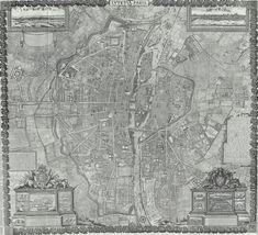 19-1652_Gomboust1 Plan Paris, Paris Map, Old Maps, City Maps, Cartography, Plans, Middle Ages, City Photo, Painting
