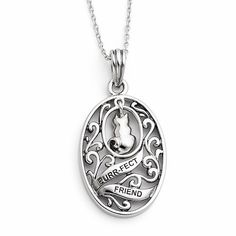 Sterling Silver Antiqued Animal Friends-Cat 18in Necklace – Sparkle & Jade