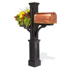 Our Post, Copper Mailbox, and Flower Box will make your curbside the most distinctive on the street. The hand-hammered mailbox is a skillfully crafted copper and brass masterpiece. The Westbrook Mail Post and Flower Box will maintain their freshly painted beauty by simply rinsing with a hose.Mailbox is generously sized to accommodate larger pieces of mailSecure door latch keeps mailbox closedMail post and flower box are molded from weatherproof polyethyleneWestbrook Mail Post requires…