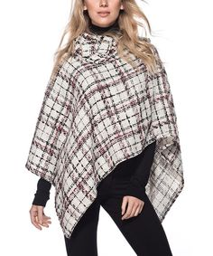Look at this Burgundy & White Plaid Wool-Blend Poncho on #zulily today!