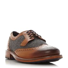 Ted Baker Cassius 3 leather and tweed brogue, Tan