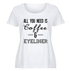e3208f73970 LC trendz Plus White All You Need Is Coffee Eyeliner Scoop Neck... ( · Plus  Size Womens ClothingPlus ...
