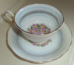 Vintage Royal Albert Crown China Tea Cup Saucer Blue w Pink Flowers Gold Trim | eBay