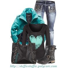 """Teal Heart"" by steffiestaffie on Polyvore"