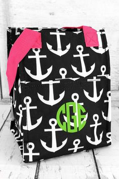 BLACK AND WHITE ANCHOR WITH PINK TRIM INSULATED LUNCH TOTE