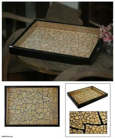 Eggshell mosaic tray - Cataclysm | NOVICA
