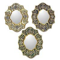 Mirrors, 'Midday and Midnight' (set of 3) from @NOVICA, They help #artisans succeed worldwide.