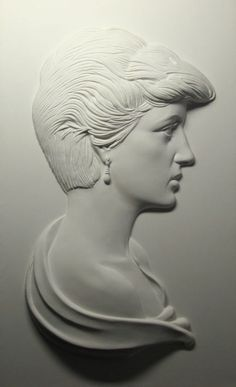 Wall Mounted or Wall Hanging sculpture by artist David Cornell titled: 'Diana Princess of Wales (Bas relief Plaque Wall Mounted portraitsculpt)'