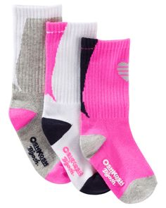 Kid Girl 3-Pack Athletic Crew Socks from OshKosh B'gosh. Shop clothing & accessories from a trusted name in kids, toddlers, and baby clothes.