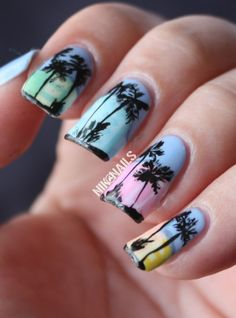 Miami's South Beach design for #Lacquer Legion #LLOnHoliday using #Essie and #OPI.