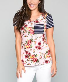 Look at this White Plum Pink Floral & Stripe Tunic on #zulily today!