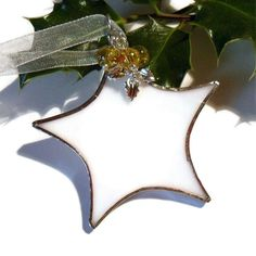 Stained Glass Christmas Decoration, White Stained Glass Star With Yellow Beads £6.00