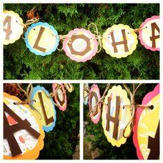 Aloha Luau Banner hawaiian Party  Flip flops, pink green, yellow, orange - Ready to Ship today. $16.00, via Etsy.