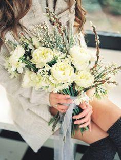 Pretty bouquet: http://www.stylemepretty.com/little-black-book-blog/2015/03/03/cozy-winter-bridal-inspiration-bouquet-recipe/   Photography: Alexandra Grace - http://alexgracephotography.com/