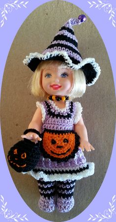 """Crochet Clothes Punkin Apron Outfit for 4 ½"""" Kelly Same Sized Dolls 