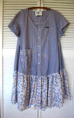"""""""Made with a revamped Ralph Lauren Chaps shirt, I trimmed and zig zagged the neckline, gave it cap sleeves, added a funky little pocket and gave it a wide ruffle of recycled fabric""""-- by lillienoradrygoods"""