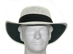 GAMBLER VENTED Panama Dress Straw GOLF HAT White color 442fd83d1a34